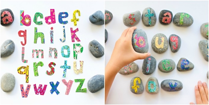 apprendre les lettres de l alphabet, activité manuelle primaire avec des lettres colorés collées sur des galets, materiel montessori