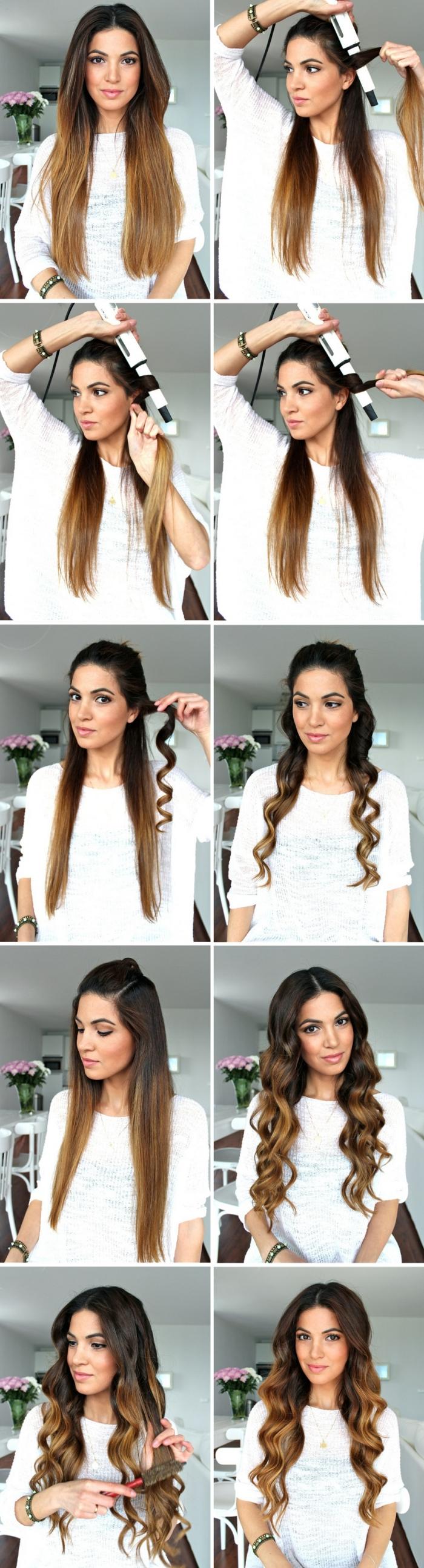 coupe de cheveux femme, faire une coiffure simple sur cheveux longs avec boucles