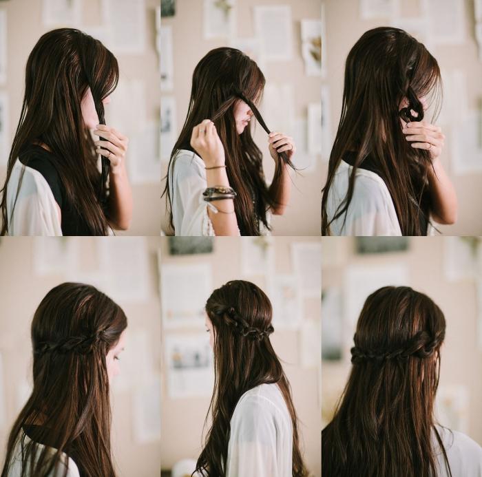 coiffures faciles, coupe de cheveux longs pour femme attachés en deux tresses diagonales