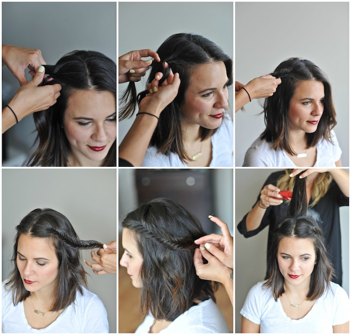 coiffure tresse à réaliser sur de cheveux femme mi long chatain foncé, tee shirt blanc, réalisation natte étape par étape