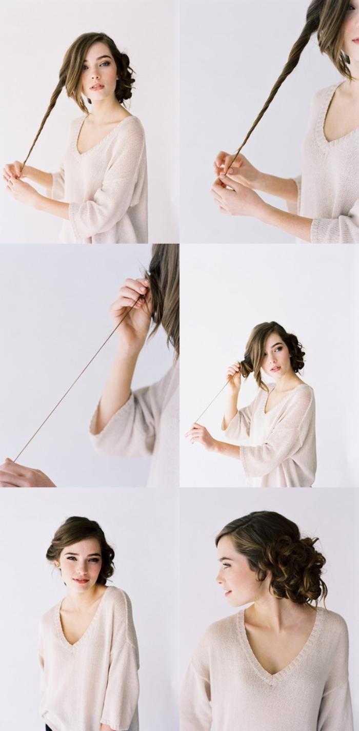 tutoriel pour faire une coiffure romantique en cheveux attachés en chignon bas de mèches torsadées