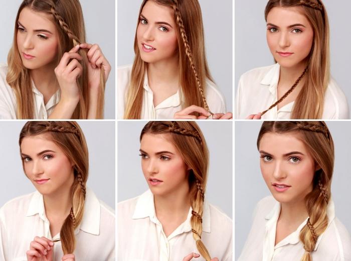 coiffure tresse, petite tresse intégrée dans une coiffure de cheveux cuivrés attachés en queue de côté