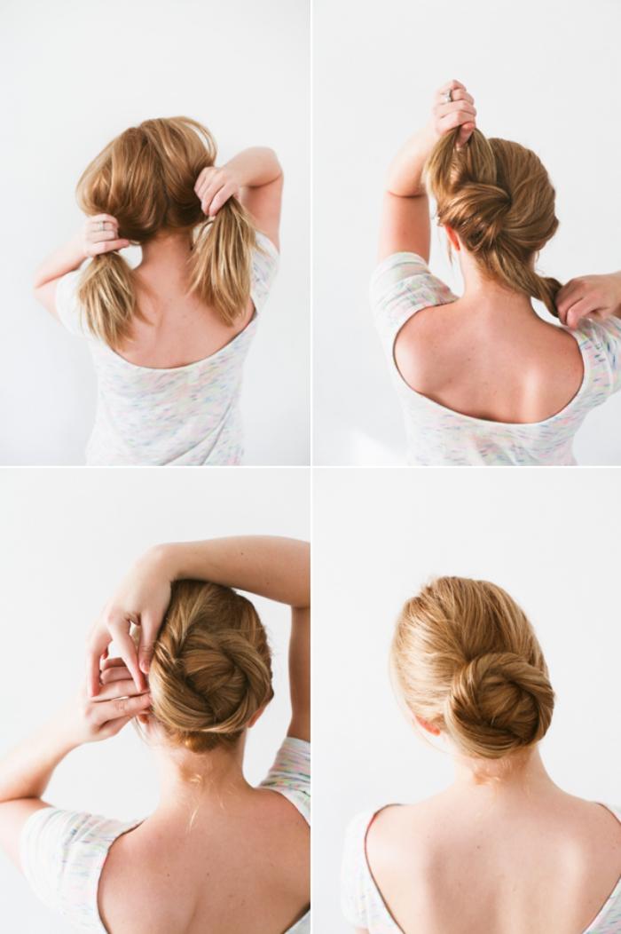 étapes à suivre pour réaliser un chignon bas originale sur des cheveux longs, femme aux cheveux de nuance cuivrée