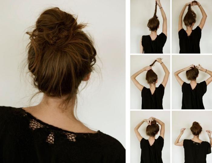 coupe de cheveux femme, étapes à suivre pour attacher les cheveux en chignon haut décontracté