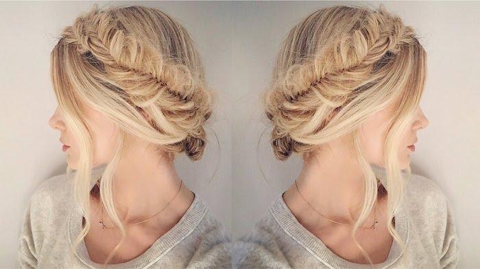 modele de couronne de tresse, style epi de ble avec des mèches libres ondulés, idée de coiffure de mariage