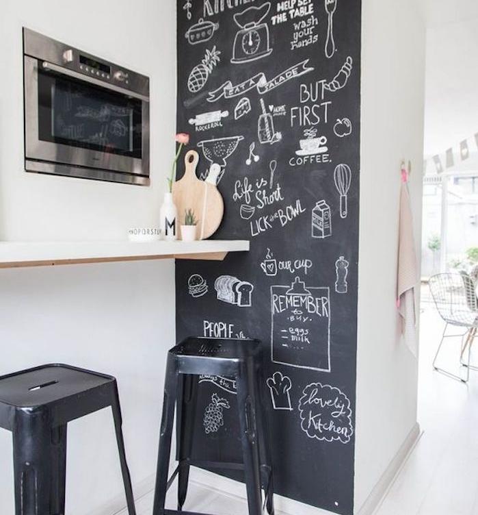 exemple de cuisine avec un pan de mur en peinture gris ardoise avec des notes et des dessins, petit comptoir avec tabourets noirs industriels