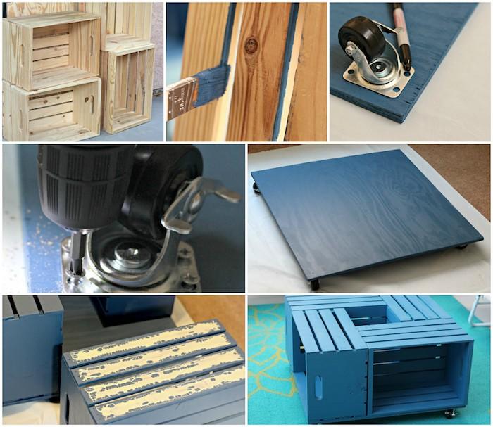 table basse caisse pomme, comment faire une table, tutoriel étape par étape, cagettes et plateau repeints en bleu de gris