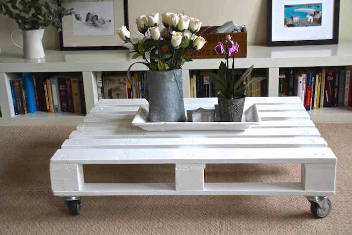 Comment fabriquer une table basse plusieurs projets diy - Table basse palette blanche ...