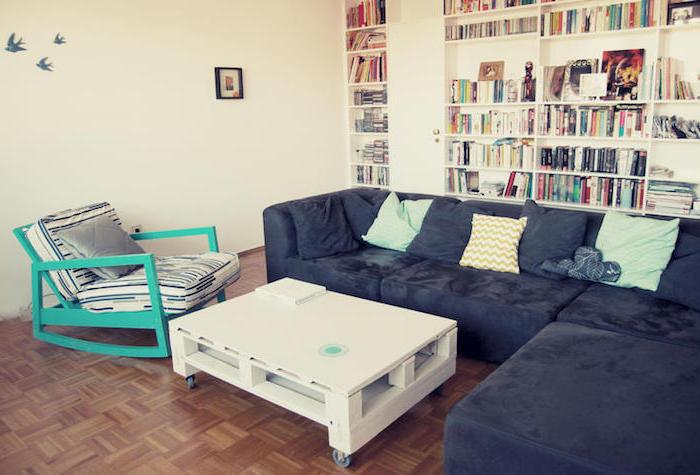 modele de table basse en palette de bois repeint en blanc et montée sur des roulettes, canapé gris anthracite, parquet marron, bibliothèque blanche