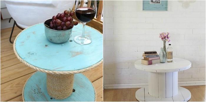 fabriquer une table basse, table en touret simple repeinte de peinture bleue et de peinture blanche, style bord de mer et style scandinave