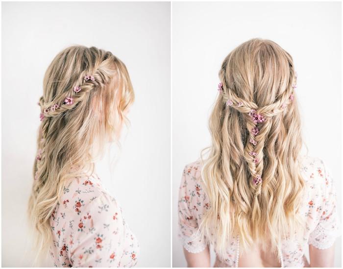 une idée de coiffure demoiselle d honneur pour mariage, demi couronne de tresse en épi de blé avec des cheveux ramenés en arrière et ondulés et décoration de petites fleurs rose