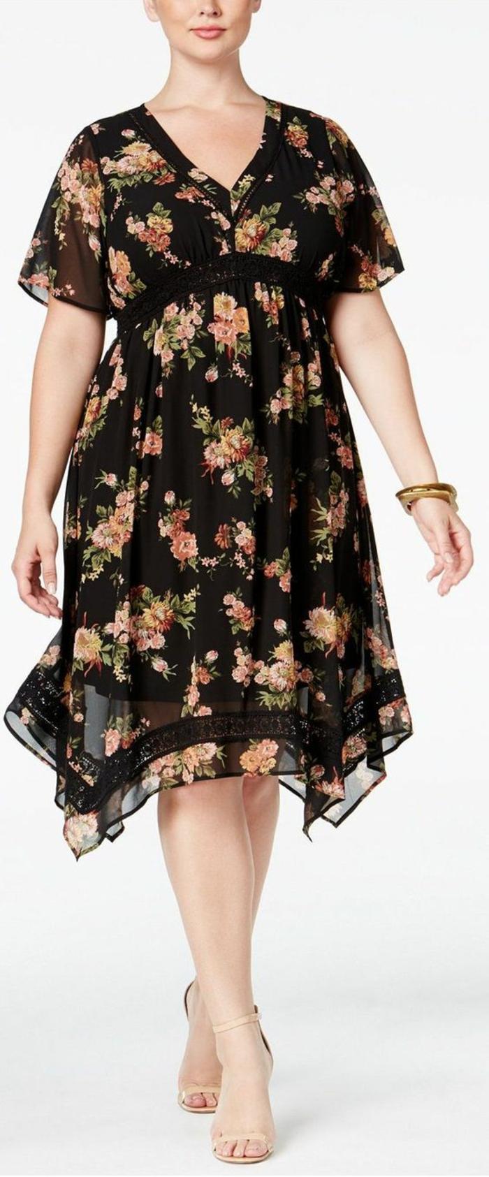 silhouette de déesse, robe de soirée pas cher pour ronde, décolleté en V, manches courtes, longueur mi-genoux, léger effet asymétrique sur les côtés