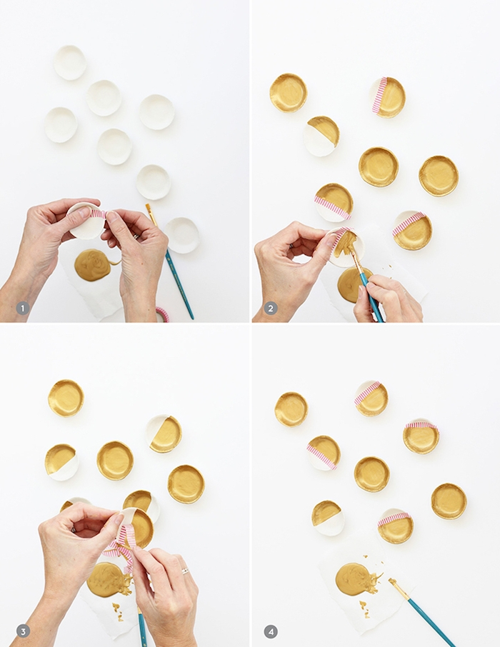 comment faire de la pate fimo, marque place originale en petites coupelles de fimo en blanc et or, fabrication étape par étape