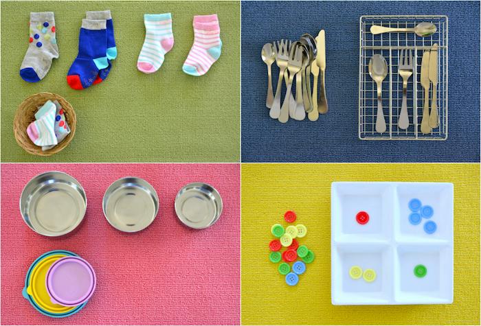 quelques activités montessori de vie pratique, pliage chaussettes, rangement couverts et ustensiles de cuisine, jeux sur les fomes et les couleurs, rangement boutons colorés