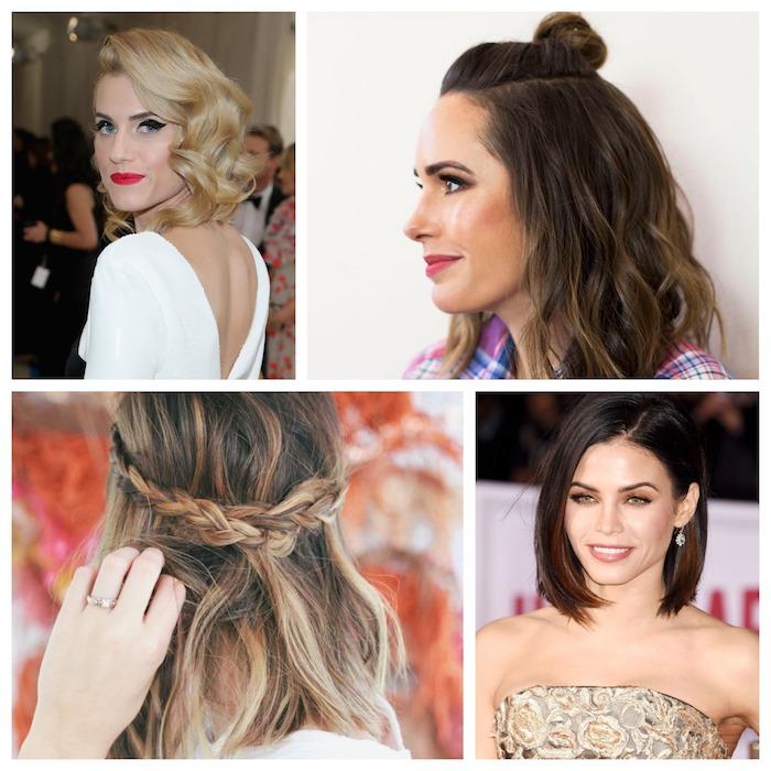 exemples de coiffure carré plongeant, boucles vintage, demi chignon haut, tresses ramenées en arrière, carré lisse