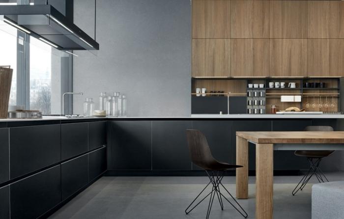 idée comment aménager une cuisine en L, cuisine gris anthracite, meubles de cuisine hauts en bois et fermeture automatique