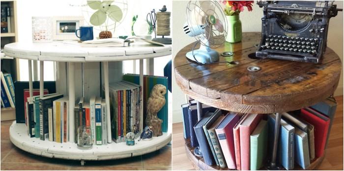 fabriquer une table basse, modele de table en touret avec des rangements pour livres et accessoires decp
