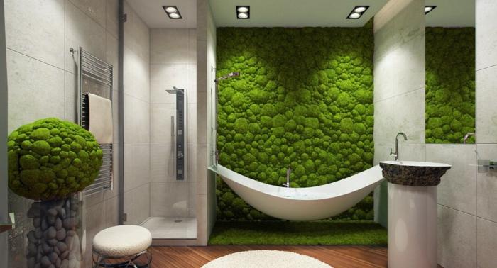 comment décorer sa salle de bain avec un mur vegetal contemporain, baignoire hamac