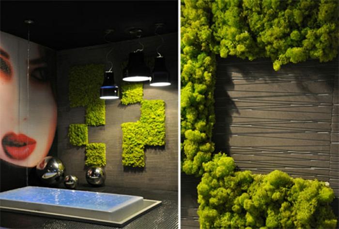 jardin vertical géométrique dans la salle de bain, design moderne d'espace