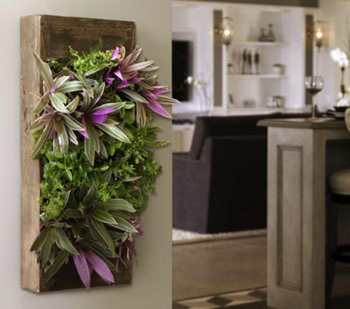 cuisine contemporaine cosy, petit jardin vertical, étagères blanches, cultiver des plantes verticalement