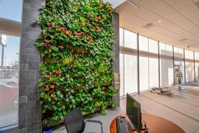 décoration vivante pour les offices et les habitations modernes, mur végétalisé, demeure à l'architecture moderne