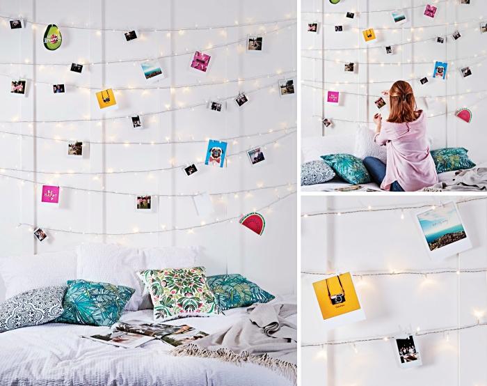 guirlande lumineuse avec photos et images pour créer une deco chambre fille ado parfaite