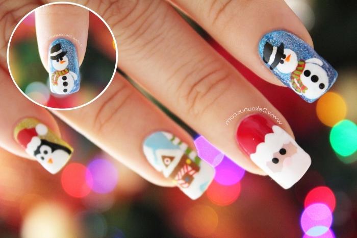 nail art de Noel avec vernis de base bleu pailleté et dessin bonhomme de neige, dessin ongles à design père Noël