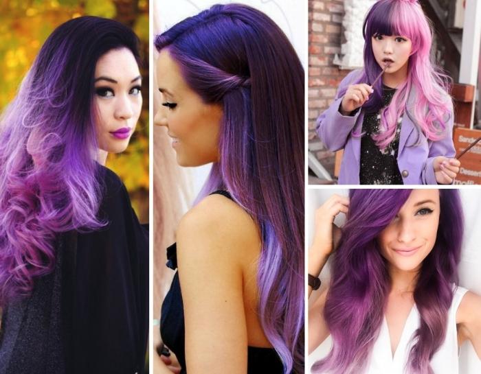 coloration cheveux tendance 2018 avec racines noires et pointes violets, coloration pastel en rose et violet