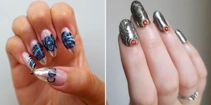 extensions et capsules acryliques pour faire une manucure à ongles longs, décoration dessin sur les ongles
