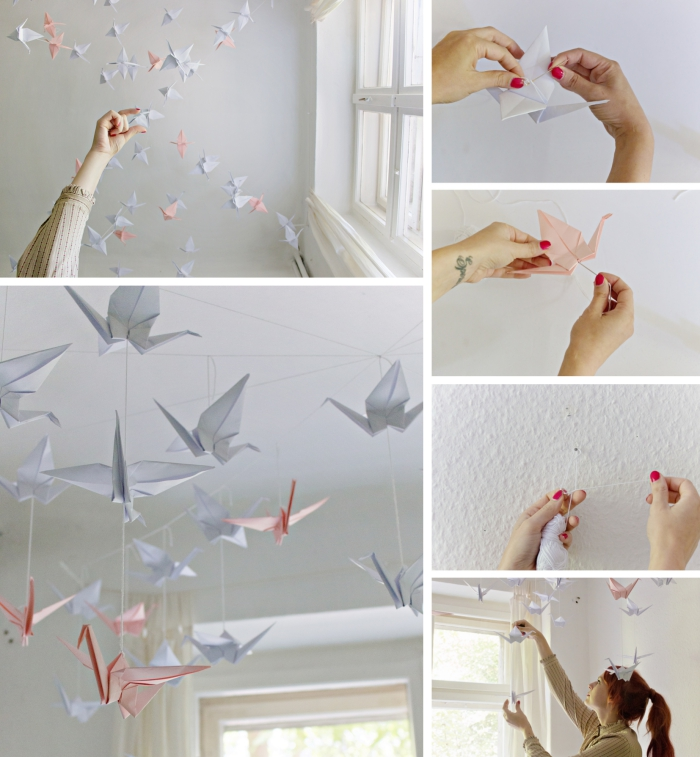 art de papier origami pour une décoration du plafond blanc dans la chambre d'ado fille