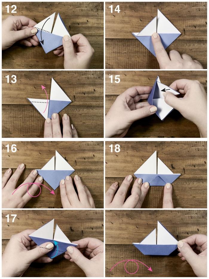 activité ludique et intelligente pour enfants, explications étape par étape pour réaliser un modèle origami bateau à voile
