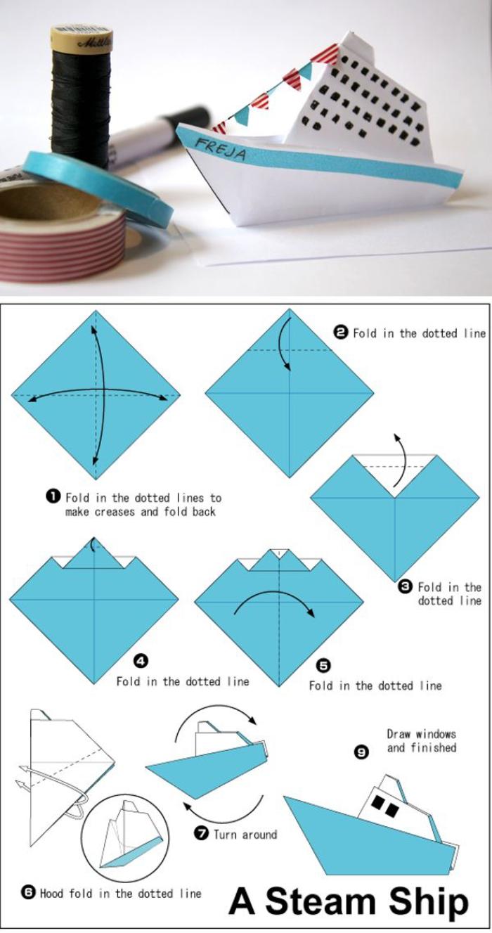 tuto origami facile pour commencer dans l'art de pliage origami, modèle de bateau à vapeur à réaliser en papier