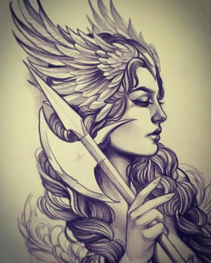 Dessin femme viking tatouage viking femme idée tatouage homme ou petit tattoo femme