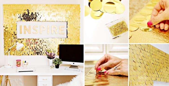 décoration glamour pour les murs dans la chambre fille avec paillettes dorées et lettres inspirantes
