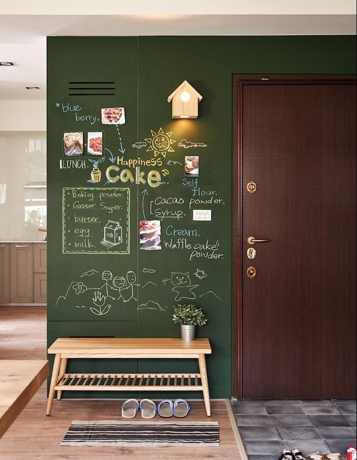 peinture ardoise vert foncé sur un pan de mur avec des dessins et texte coloré, parquet bois clair