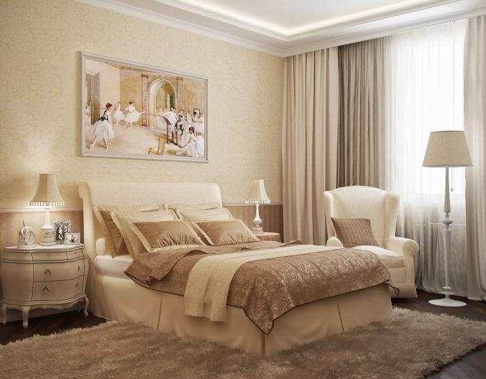 chambre design rétro luxe avec tapis moelleux beige et papier peint de couleur beige, modèle de lampe sur pied blanche