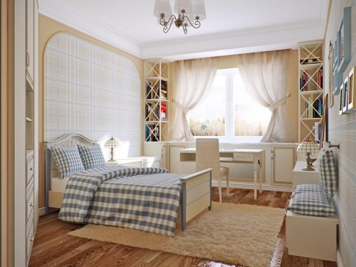 quel meuble chambre choisir pour une déco enfant, aménagement pièce beige avec meubles de bois clair