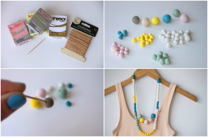 tuto pate fimo pour faire un collier de perles colorées pour femme, exemple de cadeau fetes des meres a fabriquer