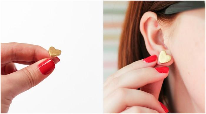 bijoux pate fimo a faire soi meme, boucle d oreille pate fimo en forme de petit coeur doré, cadeau femme a faire soi meme