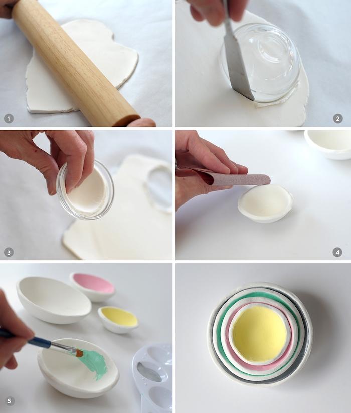 tuto pate fimo, coupelles blanches décorées de peinture à l intérieur, idée de ranement maison facile a faire