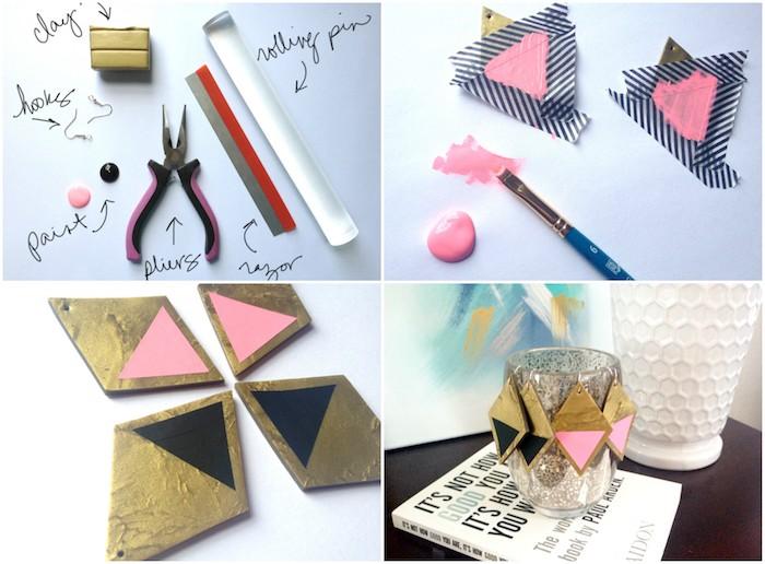 boucle d oreille fimo a fabriquer soi meme en losange avec dessin de triangles rose et noirs, accessoire femme original