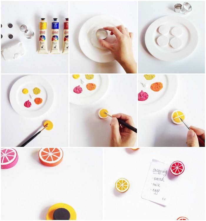 exemple de tuto pate fimo pour réaliser un aimant pour frigo original, rondin fimo décoré de peinture pour figurer un motif fruit, fabrication d une accroche magnetique