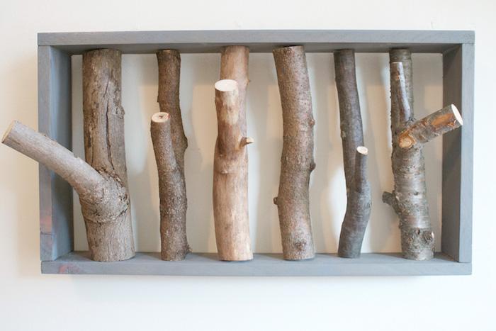 porte manteaux branches idée patere cadre en bois