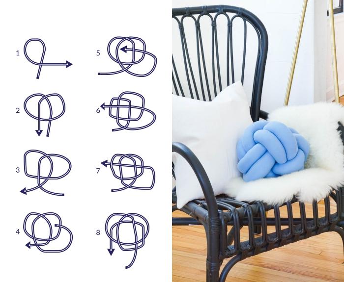 chambre d ado fille à décorer avec des coussins diy, modèle de coussin noeud à fabriquer avec tissu et polyester