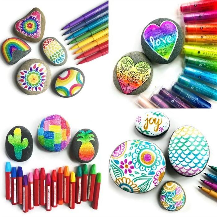 activité manuelle primaire selon le principe montessori, galets décorés aux feutres colorés, idée originale de bricolage enfant