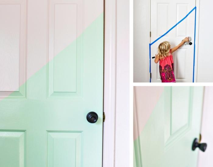 deco chambre fille ado, idée pour décorer la porte en bois blanc, déco avec washi tape et peinture vert pastel