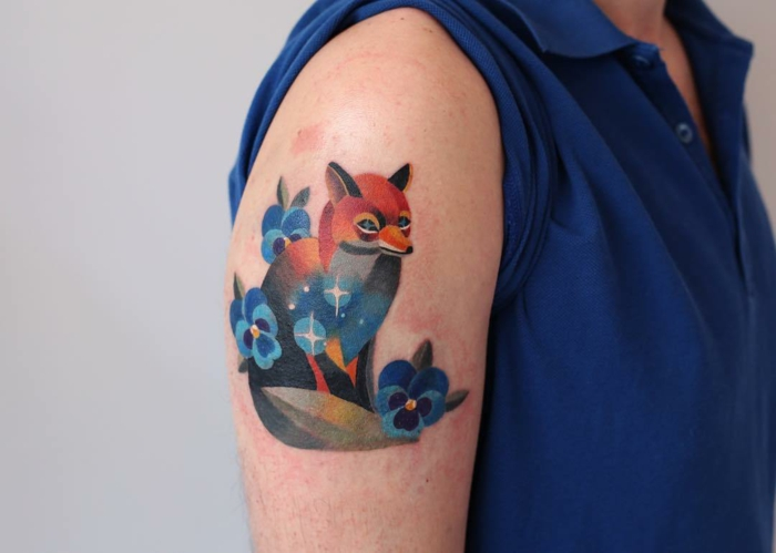 Tatouage duo tatouage biceps tatouage cote homme renard tatouage coloré