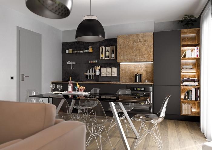 espace culinaire aux murs blancs et revêtement de sol en bois clair, cuisine ikea noire avec lampes suspendues noires
