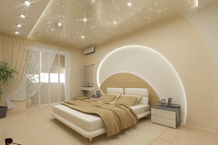 modèle de plafond moderne suspendu avec éclairage led à effet étoiles de ciel, peinture murale dans la chambre adulte