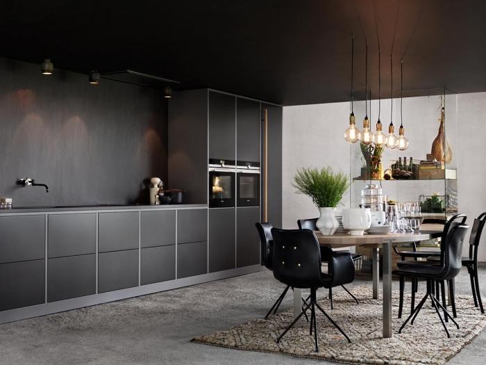 pièce au plafond noir et murs de nuance gris anthracite avec plancher couvert de tapis moelleux beige, cuisine noir mat et bois